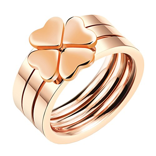 Lucky Set Ring - PAMTIER Women's Stainless Steel Love Heart Lucky Clover Stackable Ring 3 in 1 Rose Gold Band Size 8