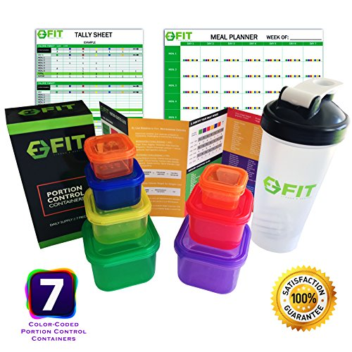 7 Piece Portion Control Containers & Protein Shaker Bottle Set + Complete Guide + Cookbook & Meal Planner & Tally Sheets (PDF) for 21 Day Weight Loss Diet Plan (1)