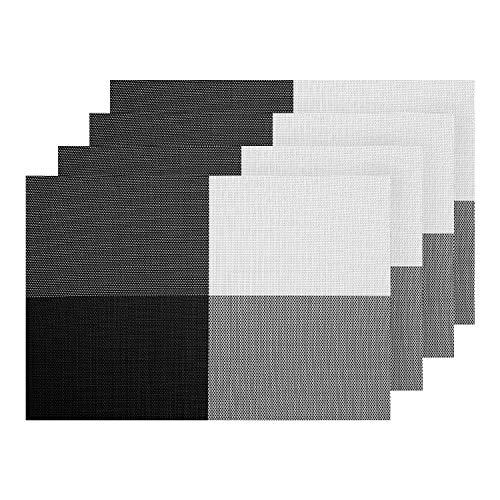 (Deconovo Table Place Mats Anti-Skid Washable Woven Heat Stain Resistant Insulation Vinyl Placemats for Dinner Table Black White Set of 4)