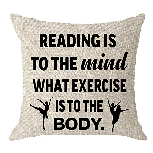 NIDITW NIDTW Inspirational Sayings Reading is to The Mind What Exercise is to The Body Cream Burlap Sofa Chair Decorative Throw Pillow Cover Cushion Case Square 18x18 Inch (Is What Sofa Best Brand The)