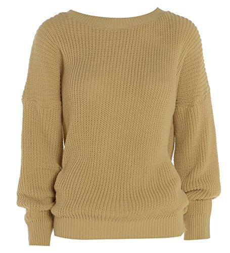 Hina Fashion Womens/Ladies grande Plain de lana gruesa de punto Top Manga Larga Jersey Camel