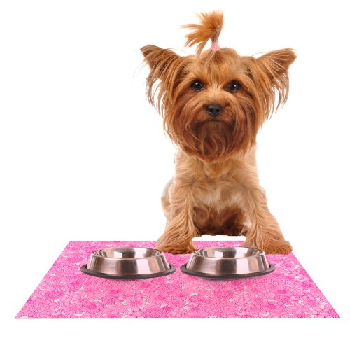 KESS InHouse Julia Grifol Welcome Birds to My Pink Garden  Feeding Mat for Pet Bowl, 18 by 13-Inch