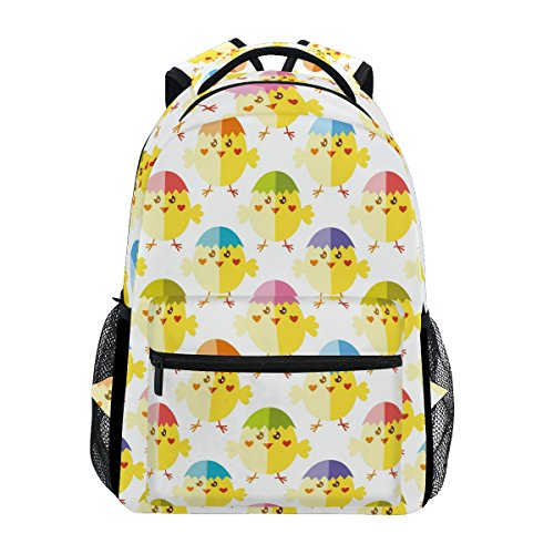 Yellow Chicks Egg Print Casual Laptop Backpack College School Bag Travel -