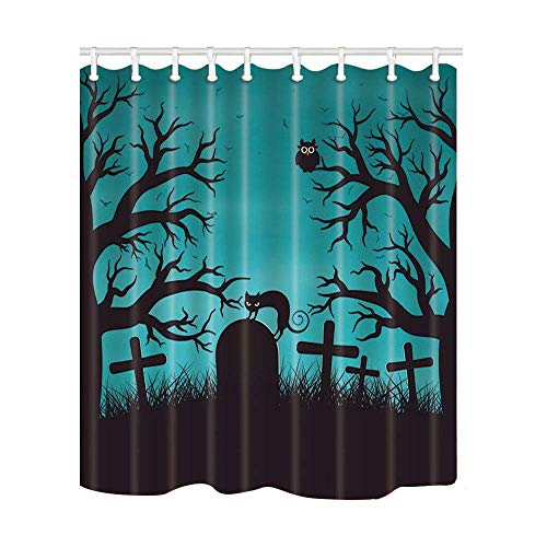 Afagahahs Halloween in Wood Decor Cat on Tombstone with Trees Bat Owls Polyester Fabric Shower Curtains Shower Curtain Hooks Included Bathroom Accessories]()