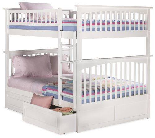 Atlantic Furniture AB55522 Columbia Bunk Bed with 2 Raised Panel Bed Drawers, Full/Full, White ()
