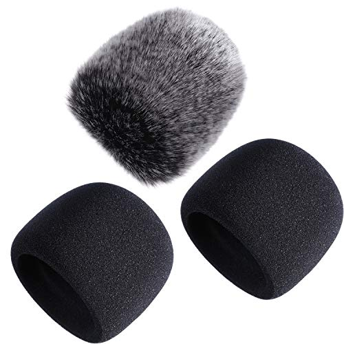 Mic Cover Foam Microphone Windscreen with Furry Windscreen Muff for Blue Yeti, Yeti Pro Condenser Microphone (3 Pack)