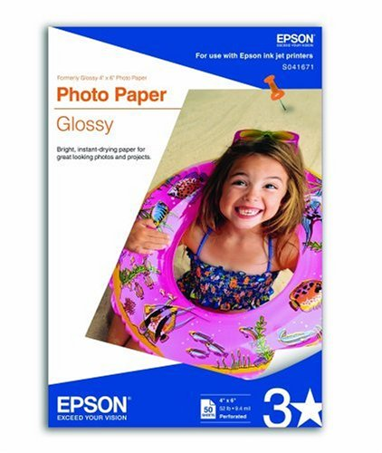 Epson Photo Paper Glossy, Perforated, 4 x 6 Inches, 50 Sheets (S041671)