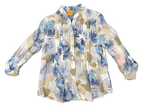Ruby Rd. Must Haves I 3/4 Roll Tab Sleeves Boyfriend Collar Lotus Print Light Weight Gauze Pintuck Front Top Blue Moon Multi (Print Gauze Top)