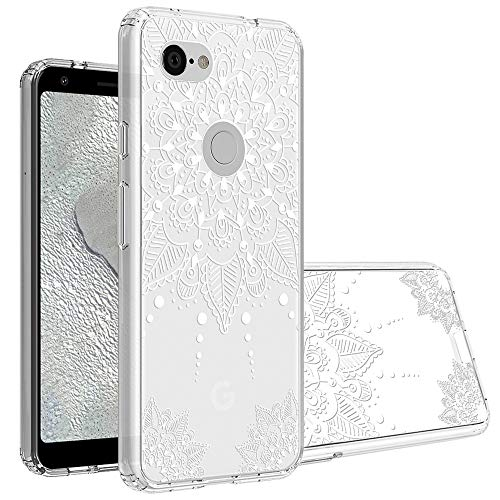 Topnow Google Pixel 3a Case, Clear Design Plastic Hard Back Case with TPU Bumper Protective Case Cover for Google Pixel 3a - White Flower