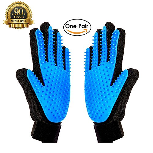 (Meetest Pet Grooming Glove-Massage Tool Cleaning Shower Gentle Deshedding Brush Hair Remover Mitt with Enhanced Five Finger Design Long & Short Fur Comb for Dogs/Cats One Pair [New)