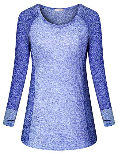 Viracy Compression Shirts for Women, Feminine Gym Clothes Yoga Long Sleeve Top Sliming Pilates Training Active Wear Sun Protection Outdoor Fishing Training Apperal Soft Jogging Tunic Blue M Active Long Sleeve Training Top