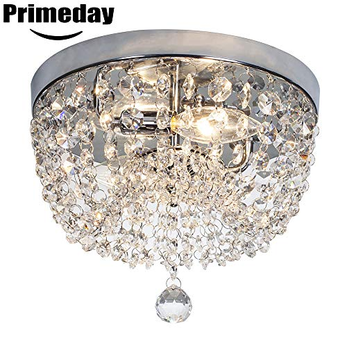 SOTTAE 2 Lights Ceiling Light Pendant Fixture Lighting Chrome Finish Modern Crystal Chandelier, Crystal Ceiling Light(9.8