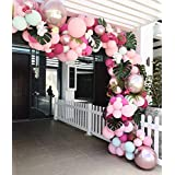 Balloon Garland Arch Kit 107pcs 7 Colors Latex Balloons Party Decorations for Baby Shower Wedding Birthday Bachelorette Party Decorations 7pcs Rose Gold Metallic Balloons Included