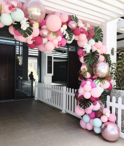 Balloon Garland Arch Kit 105pcs 7 Colors Latex Balloons Party Decorations for Baby Shower Wedding Birthday Bachelorette Party Decorations 5pcs Rose Gold 4D Foil Balloons Included