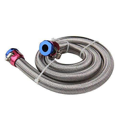Universal Fuel Line Hose 3/8 inch by 3 feet Stainless Steel Braided Oil Line Hose with 2 Hose Clamps