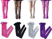 Girls Sparkle Fishnet Tights Elastic Glitter Leggings Rhinestone Hollow Out Pantyhose