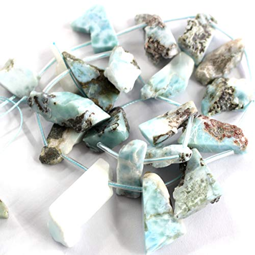 Icokarl Faceted Genuine Dominican Larimar Chips Nuggets Natural Gemstone Loose Beads Approxi 15.5 inch DIY Bracelet Necklace for Jewelry Making ()