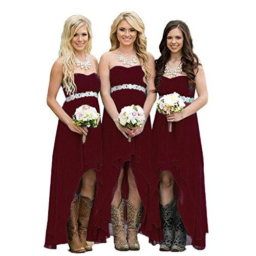 Women' Strapless Party Wedding High burgunderfarben Kleid Fanciest Turquoise Brautjungfernkleideres Low q1wZ5x1da
