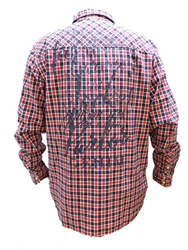 CAMP DAVID HEMD CARDINAL RED CHECK MUSCLE FIT