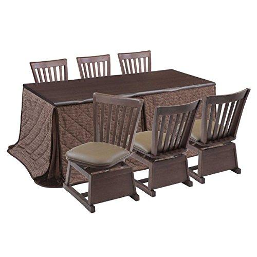 超熱 ハイタイプこたつ/ダイニングコタツ こたつ楓(かえで)180センチ幅、長方形+椅子6脚+布団の8点セット B075P3XDBH ダークブラウン色 B075P3XDBH, ユニフォームストア「G-uniform」:32570acc --- svecha37.ru