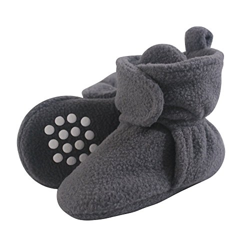 Luvable Friends Baby Cozy Fleece Booties with Non Skid Bottom, Charcoal, 6-12 Months
