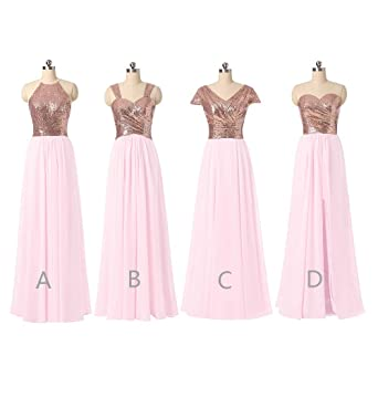 Z Sexy Ruffles Chiffon Bridesmaid Bresses Rose Gold Sequins Long Prom Dresses for Women
