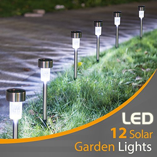 Sunnest 12Pack Solar Lights Outdoor, Outdoor Garden Lights, Solar Pathway Lights, Outdoor Landscape Lighting for Lawn/Patio/Yard/Walkway/Driveway ST-3493 (Stainless Steel)
