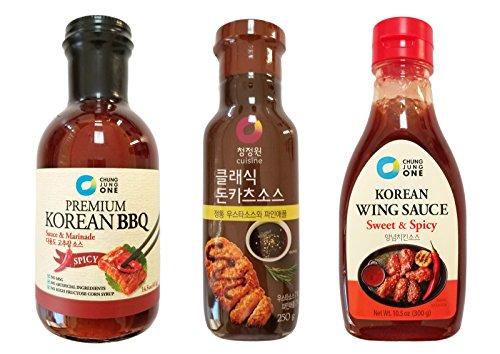 Chung Jung One Premium Korean Sauce / Marinade 3 Pcs Set Chili BBQ (14.5 oz) + Classic Pork Cutlet Katsu Pineapple (8.81 oz) + Spicy Wing Sauce (10.5 oz)