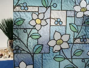 "Stained Glass Flowers, Decorative, Privacy, Static Cling Window Film (36"" x 13ft Roll)"