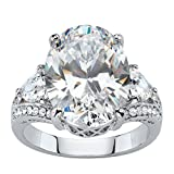 Palm Beach Jewelry Oval Trilliant-Cut White Cubic Zirconia Platinum-Plated Bridal Engagement Ring Size 7
