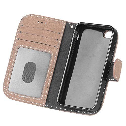 YHUISEN Caso retro del cuero de la PU de la caja superior de la carpeta de la PU del cuero sólido del estilo con la ranura para tarjeta / soporte para IPhone 4S 4 ( Color : Black ) Beige