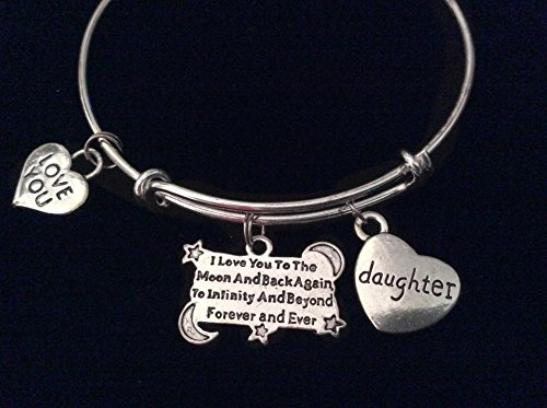 Daughter I Love you to the Moon and Back Again, To Infinity and Beyond, Forever and Ever Silver Expandable Charm Bracelet Adjustable Wire Bangle Gift