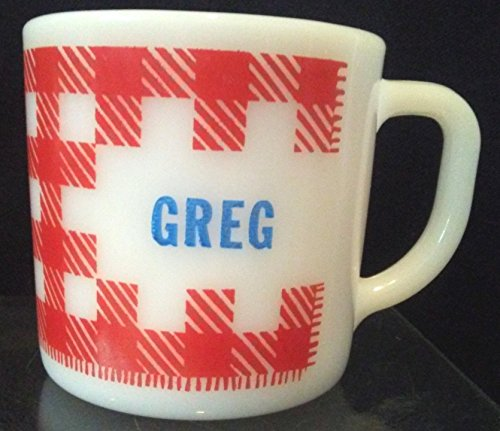 Personalized GREG Coffee Cup, Vintage Fire King Coffee Cup, Vintage GREG Coffee Cup, Federal Milk Glass Fire King Coffee Cup
