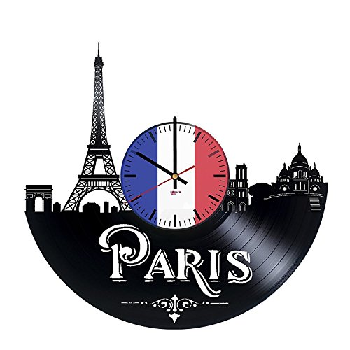 Paris Skyline Design Handmade Vinyl Record Wall Clock - Get unique living room, bedroom or nursery wall decor - Gift ideas for adults and youth City Of France Unique Modern Art