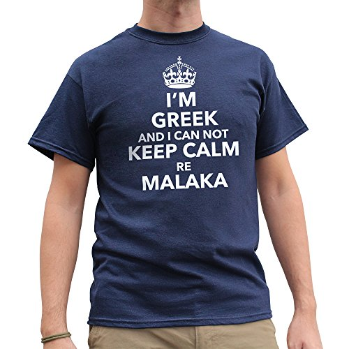 Nutees Mens I'm Greek And I Can not Keep Calm Re Malaka Funny T Shirt Navy Blue - Tee Cyprus