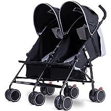 Costzon Twin Ultralight Stroller, Foldable Double Umbrella Stroller (Gray)