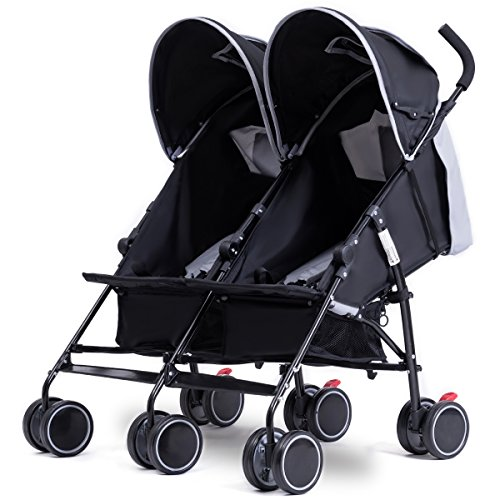 Costzon Twin Ultralight Stroller, Foldable Double Umbrella Stroller (Gray)