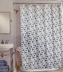 Peri Neeko Geometric Dove Grey Charcoal Grey White Modern Fabric Shower Curtain
