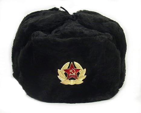 4de0c620c Hat Russian Ushanka Black-62 Soviet Army Soldier: Amazon.ca: Sports ...
