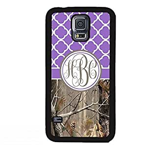 Country Girl Purple Camo Quatrefoil MONOGRAM CASE COVER FOR SAMSUNG GALAXY S5