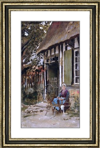"""Theodore Robinson Spinning - 21"""" x 29"""" Matted Framed Premium Archival Print"""
