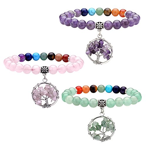 JOVIVI 7 Chakra Healing Crystal Bracelet, Yoga Meditation Round Beads with Tree of Life Tumbled Gemstone Charm & Gift Box (Real Xmas Trees)