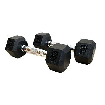 FH Pro negro, pesas hexagonales de caucho gimnasio hexabell (par) peso juego de mancuernas: Amazon.es: Deportes y aire libre