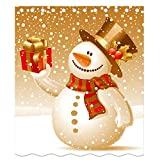 Snowman Shower Curtain LSL Snowman Shower Curtain Polyester Waterproof Bathroom Shower Curtains Home Decoration for Christmas 12 Holes Size 150x180cm
