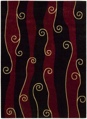 Parallels Black/Red Rug Rug Size: 5'6