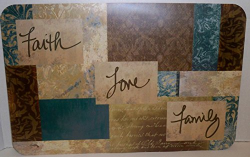 (4) Faith Love Family Reversible Vinyl Placemats by Family Chef