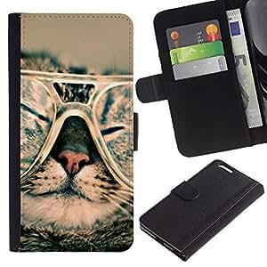 "Apple (5.5 inches!!!) iPhone 6+ Plus , la tarjeta de Crédito Slots PU Funda de cuero Monedero caso cubierta de piel ("" Cute Sunglasses Kitten Cool Stylish Furry"")"