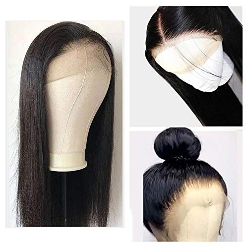 Human Hair Wigs, VIPbeauty 130% Density Glueless Brazilian Virgin Straight Human Hair Lace Frontal Wig for Black Women with Pre Plucked Baby Hair(18