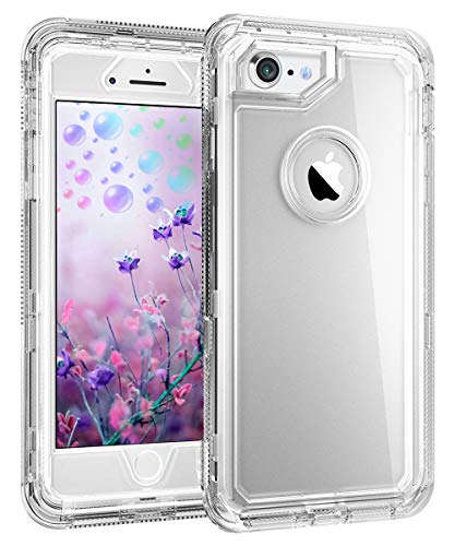 Touchable Crystal Case - iPhone 8 Clear Case - by MXX - Hybrid Heavy Duty Protective Dual Layer Shockproof Cover with Hard PC Bumper + Soft TPU Back for Apple iPhone 7/8/6S - Transparent