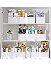 Ezy Life 6pcs set drawer organiser pantry organizer box drawer divider wide narrow white plastic for kitchen utensil under sink storage bathroom desk and dresser organization